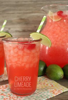 Cherry Limeade Recipe - - Looking For Refreshing Summer Drink Recipes? One Of Our Favorite Summer Drinks Is This Cherry Limeade. It Tastes Just Like Sonic Cherry Limeade! Now You Can Make It At Home With Our Cherry Limeade Recipe! Non Alcoholic Drinks, Fun Drinks, Yummy Drinks, Healthy Drinks, Beverages, Drink Recipes Nonalcoholic, Healthy Recipes, Picnic Drinks, Party Drinks