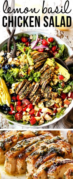 Grilled Lemon Basil Chicken Salad with a dressing that doubles as a marinade!  It's a healthy, satisfying, light lunch or dinner that you will CRAVE plus it's super easy to prep ahead so you can serve dinner in no time at all!  #salad #saladrecipes #dinner #dinnerrecipes #dinnertime #healthyrecipes #healthyfood #healthyeating #healthysnacks #chicken #chickenrecipes #bacon #easyrecipe # #avocados #avocadorecipes #basil #chickensalad   via @carlsbadcraving Avocado Recipes, Healthy Recipes, Easy Recipes, Summer Recipes, Keto Recipes, Grilled Chicken Salad, Chicken Salad Recipes, Kitchen Recipes, Cooking Recipes