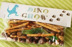 Dinosaur Party-dino chow favors (pretzel, chocolate covered raisins, butterscotch chips and a gummy worm)