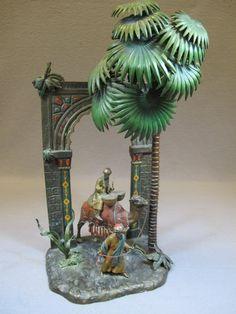 Antique Orientalist painted spelter or bronze lamp :