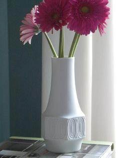 Mid Century Modern White Vase West German by MidCenturyFLA on Etsy