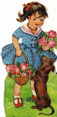 Vintage dachshund postcard via pinterest.com