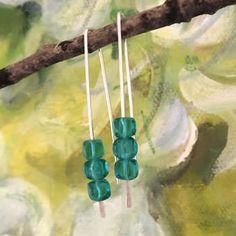Green-glass-drop-earrings Silver Drop Earrings, Silver Jewelry, Teal Green Color, Glass Cube, Czech Glass, Jewelry Design, Silver Earrings, Silver Jewellery