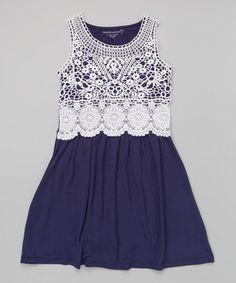 Look what I found on #zulily! Indigo & White Lace Overlay Tank Dress - Girls #zulilyfinds