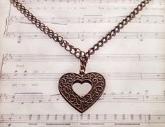 Steampunk Victorian Style Heart Pendant by Jaceyscreations on Etsy, £5.00