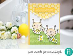 Card by Yana Smakula. Reverse Confetti stamp set: Hippity Hoppity. Confetti Cuts: Hippity Hoppity and Edgers. Quick Card Panels: Hoppin' Dots. Easter card. Easter Bunny. Bunnies and rabbits. Spring card.