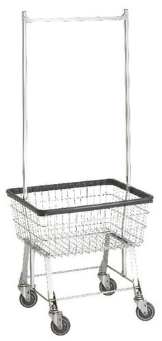 LAUNDRY~COMMERCIAL WIRE LAUNDRY BASKET CART W/HANGER RACK