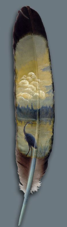 """Heron Lake"" painted on a feather by Julie Thompson ""Lago Heron"" pintado em uma pena por Julie Thompson Feather Painting, Feather Art, Parrot Feather, Feather Crafts, Painted Rocks, Hand Painted, Blue Heron, Easy Paintings, Bird Paintings"