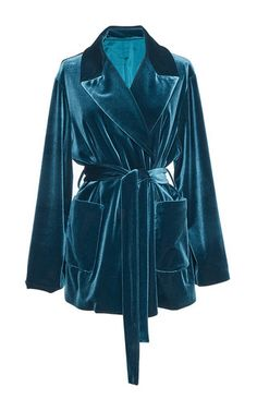 This **Luisa Beccaria** blazer, rendered in velvet, features a notched collar, self-tie belted waist, and front pockets.