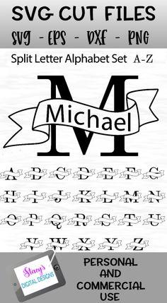 Full split letter A-Z SVG monogram alphabet set with banners. Cricut Monogram, Free Monogram, Cricut Fonts, Monogram Alphabet, Monogram Design, Monogram Fonts, Monogram Template, Font Alphabet, Calligraphy Alphabet