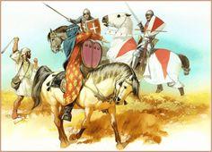 Batalla de Nájera 1367. El caballero Juan Chandos acosado por fuerzas musulmanas del ejército de Enrique durante la batalla.