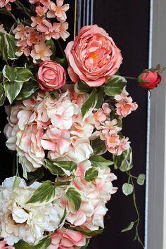 Spring wreath for front door Hydrangea wreath Grapevine