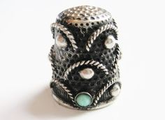 Vintage Italian Silver Thimble Green Stone Arch by AntiquesinPA, $12.00