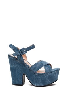 Denim Queen Faux Nubuck Heels BLUE - GoJane.com