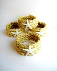 Starfish rope napkin rings coastal home decor beach deacorating shabby chic or cottage decor. via Etsy.