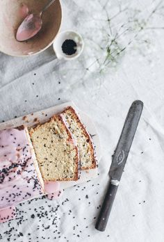 Blood orange & black sesame loaf cake