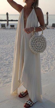 Shift Dresses, Modest Dresses, Maxi Dresses, Floryday Vestidos, Celebrity Wedding Dresses, Vacation Dresses, White Casual, Mi Long, Bohemian Beach