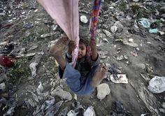 swinging above rubbish
