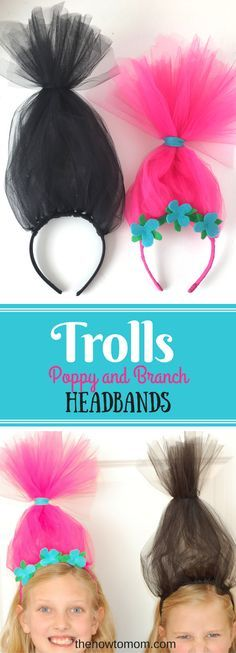 Hair Up! Make a super easy Poppy headband for your little troll! These DIY Troll headbands can be made in just a few minutes with a couple craft supplies! Fun kids craft!