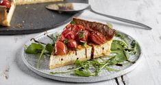 Cream cheese and cherry tomato tart Recipe Tomato Tart Recipe, Nutrition Chart, Savory Tart, Shortcrust Pastry, Processed Sugar, Good Fats, Cherry Tomatoes, Raw Food Recipes, Easy Meals
