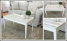 Cottage Coffee Table Painted with Annie Sloan Old White and Coco.  #Anniesloan #chalkpaint #oldwhite #coco Coast to Cottage - Painted Furniture
