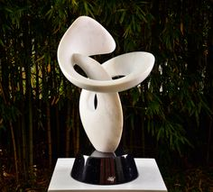 Featured #Art Work: Odyssey by Richard Erdman Pedestal #sculpture, stone 29 x 19 x 18 in  74 x 48 x 46 cm Carrara marble on a black marble base with a rotating pin mount. Dimensions include the base. Inquire >  #art #sculpture #stonesculpture #white #richarderdman #design #fineart