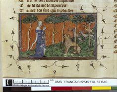 Français 22545, fol. 67, Lion consolé par la Dame du verger