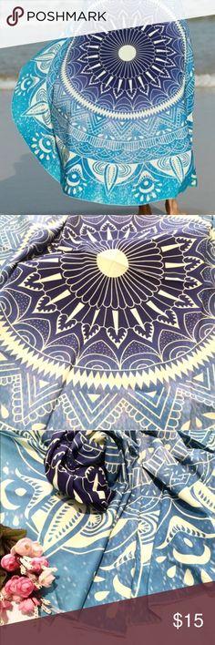 "🌿🌺 blue boho tapestry NWOT, no brand, thin lightweight fabric, approximately 160"" diameter, round Swim"