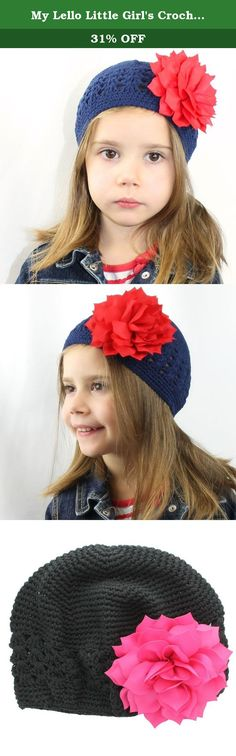 My Lello Little Girl's Crochet Beanie Hat with Flower One Size Black/Hot Pink. My Lello™ brand boutique style beanie hats are available in a large assortment of popular color options and variations! The beanie hats are constructed of a thick high-quality cotton yarn for extra warmth and durability. All hair-flowers come attached to a hair clip so that they can easily slide into the holes in the hats to make them interchangeable for endless mixing and matching color options! As the flowers...