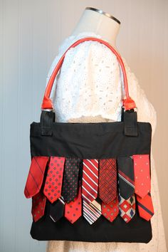 Black and Red Upcycled Necktie Bag by thriftysister on Etsy, $35.00