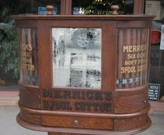 Extremely Rare Merricks Double Rotary Spool Cabinet