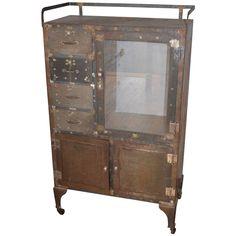 Vintage Steel Dental Cabinet On Wheels on Chairish.com