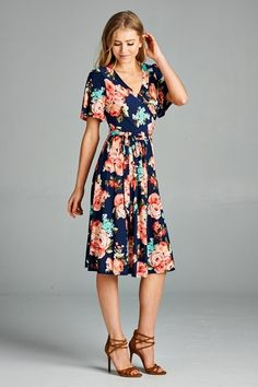 These colors are to die for! This dress features a v-neck, sash belt, and adorable flutter sleeves! The fit is so perfect and flattering.    Sizing:      Small 0-4  Medium 6-8  Large 10-12      Materials: 100% polyester   Shop this product here: http://spreesy.com/pinkpineappleclothingcompany/226   Shop all of our products at http://spreesy.com/pinkpineappleclothingcompany      Pinterest selling powered by Spreesy.com
