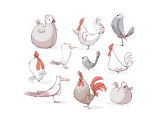 Birds illustration by lobsterfancy on deviantART Character Sketches, Character Design References, Character Art, Bird Illustration, Character Illustration, Chicken Illustration, Baby Motiv, Chicken Drawing, Arte Sketchbook