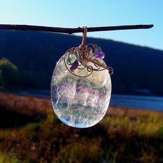 NORTHERN LIGHTS - Gold Wire Wrapped Fluorite Pendant. Healing Stone of Energy and Concentration.