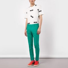 Paul Smith Men's Slim-Fit Green Wool-Crepe Trousers