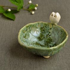 i love this little ceramic owl bowl by lee wolfe pottery! how can this not make you smile?!