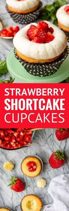 Strawberry Shortcake Cupcakes -- guests at your next gathering will flock to these light and fluffy, buttery vanilla cupcakes topped with sweet California strawberries and the best buttercream frosting recipe you'll ever taste! They're surprisingly easy to make, which is good, because you'll want to make extras. | strawberry shortcake cupcakes recipe | easy strawberry shortcake cupcakes | strawberry shortcake cupcakes from scratch #strawberry #strawberries #cupcake #buttercream…