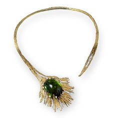 Grima  | Tourmaline Necklace, 2007  A large cabochon Green Tourmaline weighing 130.50 set in Yellow Gold textured wire and Diamonds weighing 4.69 carats