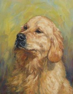 Noble Oil Dog Pet Art Portraits Golden Retriever Original Painting By