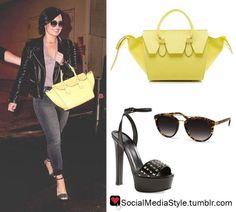 Buy Demi Lovato's Tortoise Shell Sunglasses, Yellow Bag, and Studded Black Sandals, here!