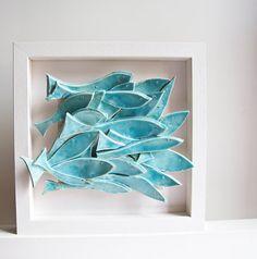 ceramic tile School of Fish modern wall art nautical by karoArt, €88.00