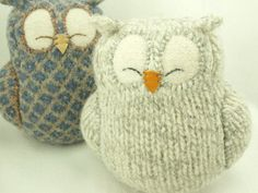 "Sleepy Owl Light Grey Felted Wool Lamb Wool Stuffing Eco Friendly Upcycled Height 7"" RESERVED FOR LYNNE"
