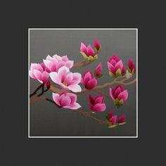 King Silk Art 100% Handmade Embroidery Magnolia by KingSilkArt
