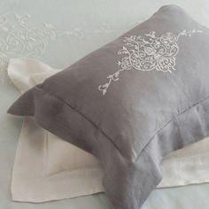 Linen embroidered pillow sham