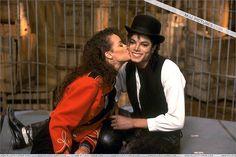 "Tatiana Yvonne (Thumbtzen) with Michael Jackson on the set of ""Leave me Alone"""