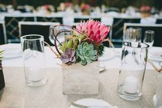 Centerpiece idea-use orange in place of pink in a stainless steel cube vase