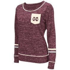 Women's Colosseum Maroon Mississippi State Bulldogs Homies Heathered Long Sleeve Pocket T-Shirt