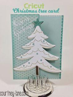 Cricut White Christmas Tree card using Anna Griffin Christmas Kitsch cartridge - Courtney Lane
