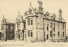 Old black and white postcard photo of The Infirmary, Doncaster published by T.W. Draper & Sons of Doncaster, circa 1910.